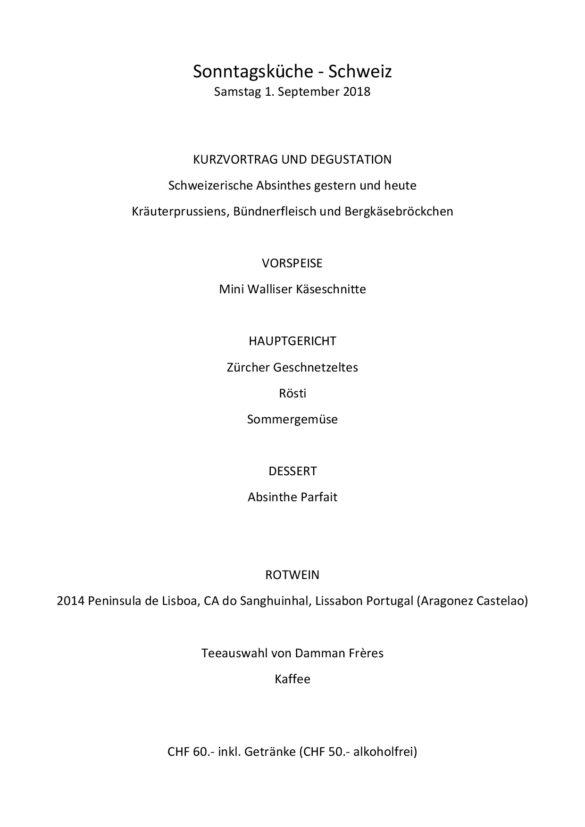 Sonntagsküche September 2018 – Switzerland