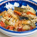 Pasta gratin with roasted vegetables