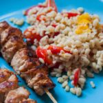 Chicken skewer with ebly & vegetables
